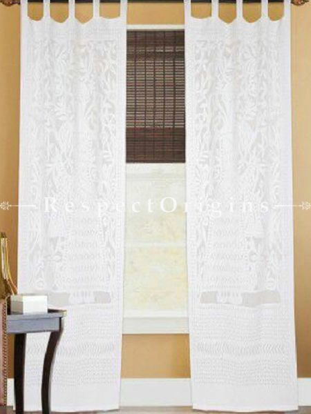 Buy Elegant White Lady With Floral Design Applique Cut Work Cotton Window or Door Curtain; Pair; Handcrafted At RespectOrigins.com