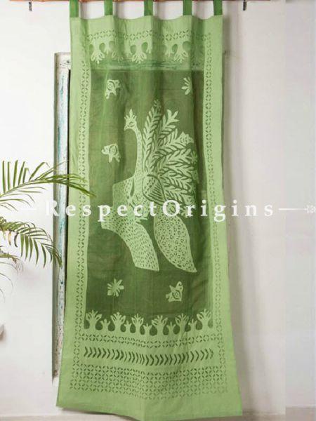 Buy Stunning Green Peacock Design Applique Cut Work Cotton Window or Door Curtain; Pair At RespectOrigins.com
