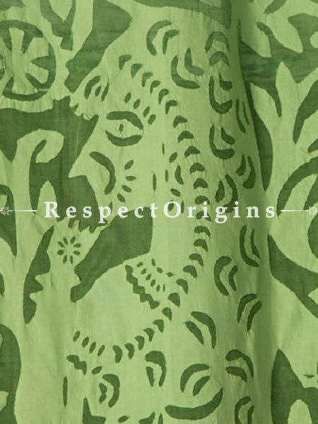 Buy Beautiful Lady With Floral Design Applique Cut Work Cotton Window or Door Curtain; Green; Pair; Handcrafted At RespectOrigins.com