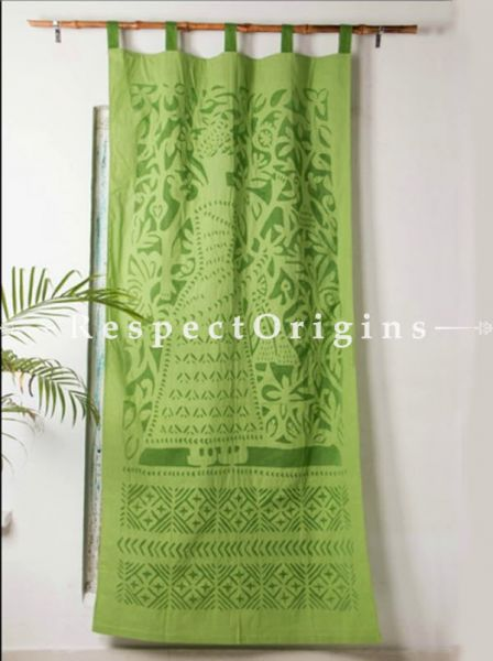 Buy Pretty Lady With Floral Design Applique Cut Work Cotton Window or Door Curtain; Green; Pair; Handcrafted At RespectOrigins.com