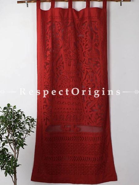 Buy Lady With Floral Design Applique Cut Work Cotton Window or Door Curtain in Red; Pair; Handcrafted At RespectOrigins.com