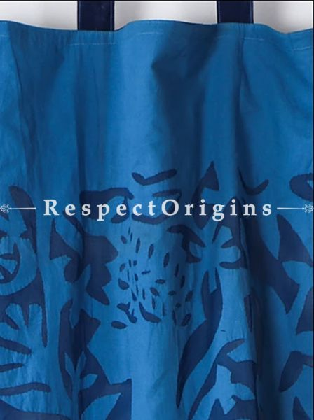 Buy Stunning Lady With Floral Design Applique Cut Work Cotton Window or Door Curtain in Blue; Pair; Handcrafted At RespectOrigins.com