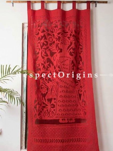 Buy Remarkable Lady With Floral Design Applique Cut Work Cotton Window or Door Curtain in Red; Pair; Handcrafted At RespectOrigins.com