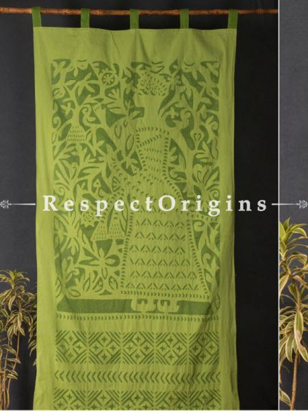 Buy Gorgeous Lady With Floral Design Green Applique Cut Work Cotton Window or Door Curtain; Pair; Handcrafted At RespectOrigins.com