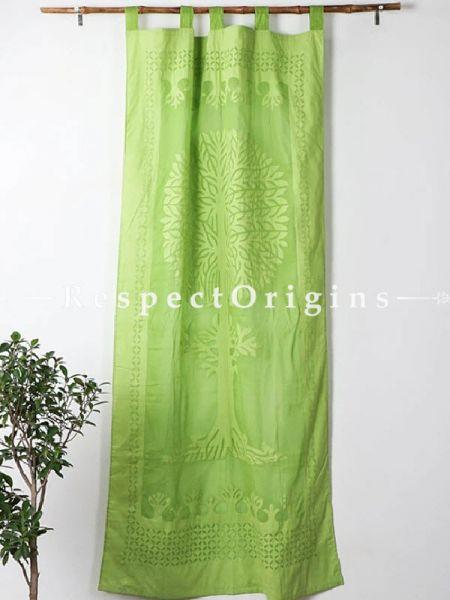 Buy Fabulous Light Green Tree Floral Design Applique Cut Work Cotton Window or Door Curtain; Pair; Handcrafted At RespectOrigins.com