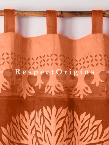 Buy Striking Light orange Tree Floral Design Applique Cut Work Cotton Window or Door Curtain; Pair; Handcrafted At RespectOrigins.com