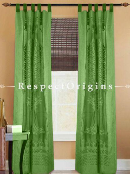 Buy Fabulous Green Tree Floral Design Applique Cut Work Cotton Window or Door Curtain; Pair; Handcrafted At RespectOrigins.com