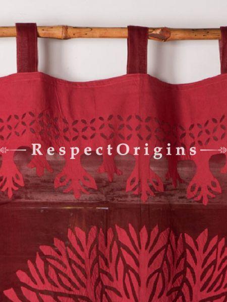 Buy Tree Floral Design Applique Cut Work Cotton Window or Door Curtain; Maroon; Pair; Handcrafted At RespectOrigins.com
