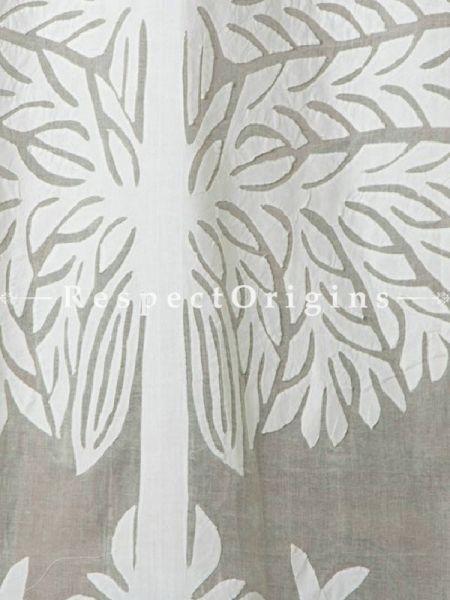 Buy Amazing White Tree Floral Design Applique Cut Work Cotton Window or Door Curtain; Pair; Handcrafted At RespectOrigins.com