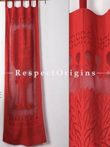 Buy Fabulous Tree Design; Applique Cut Work Cotton Window or Door Curtain in Maroon; Pair; Handcrafted At RespectOrigins.com