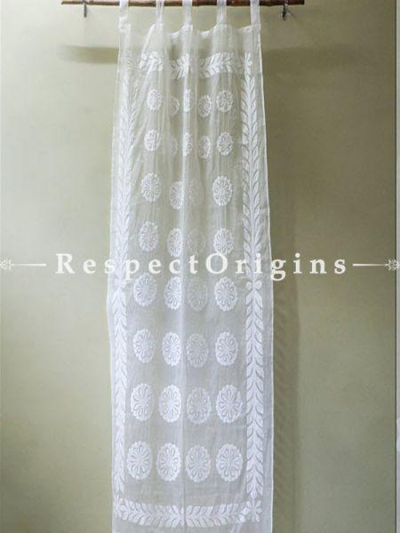 Buy Round Shape Floral Design Applique Cut Work Cotton Window or Door Curtain; White; Pair; Handcrafted At RespectOrigins.com