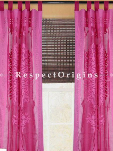 Buy Pink Tree Floral Design Applique Cut Work Cotton Window or Door Curtain; Pair; Handcrafted At RespectOrigins.com
