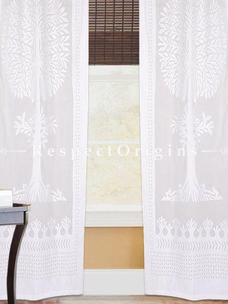 Buy White Tree Floral Design Applique Cut Work Cotton Window or Door Curtain; Pair; Handcrafted At RespectOrigins.com