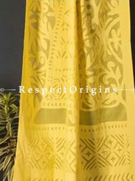 Buy Lady With Floral Design Applique Cut Work Cotton Window or Door Curtain in Yellow; Pair; Handcrafted At RespectOrigins.com