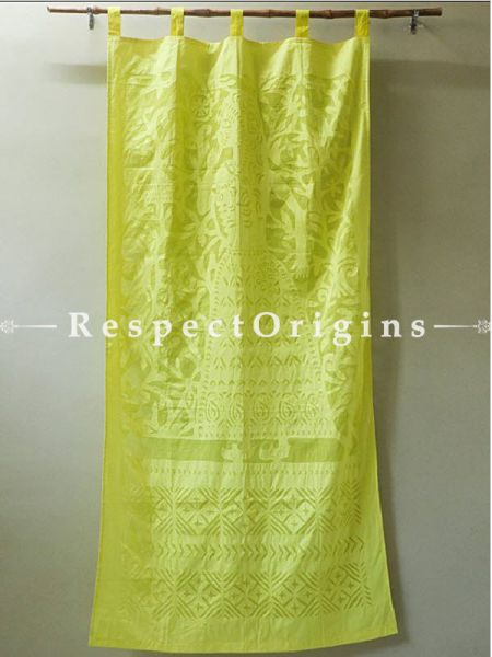 Buy Pretty Lady With Floral Design Applique Cut Work Cotton Window or Door Curtain; Olive Green; Pair; Handcrafted At RespectOrigins.com