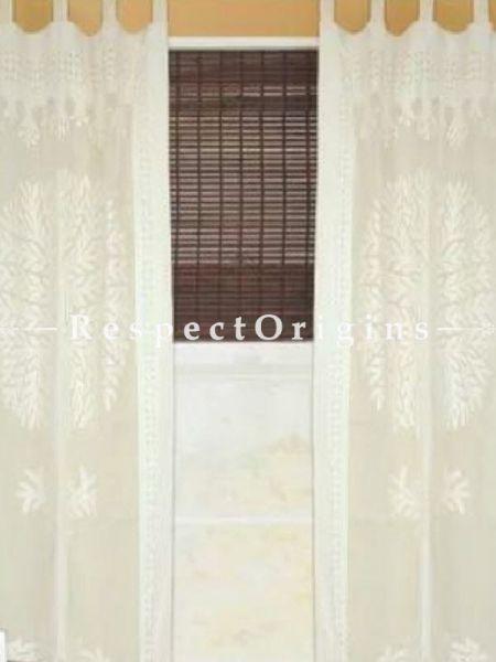 Buy Beige Tree Floral Design Applique Cut Work Cotton Window or Door Curtain; Pair; Handcrafted At RespectOrigins.com