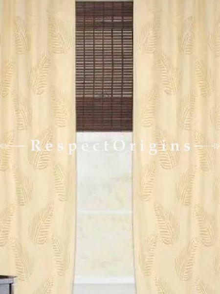 Buy Striking Beige Leaf Design Applique Cut Work Cotton Window or Door Curtain; Pair At RespectOrigins.com