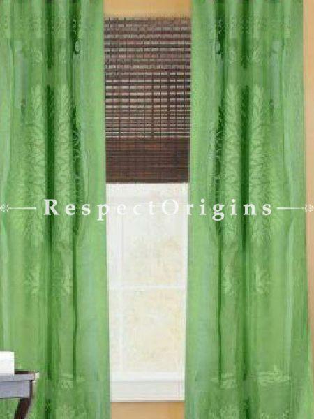 Buy Green Tree Floral Design Applique Cut Work Cotton Window or Door Curtain; Pair; Handcrafted At RespectOrigins.com
