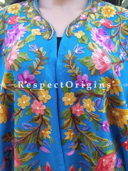 Ariwork Embroidered Blue Cape Shawl on Semi- Pashmina Wool; Free Size; RespectOrigins.com
