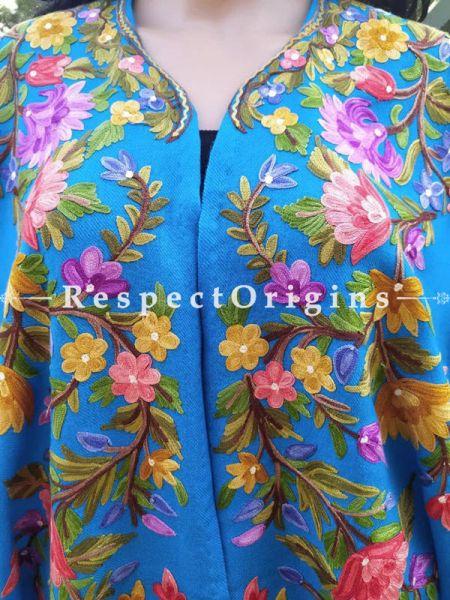 Ariwork Embroidered Blue Cape Shawl on Semi- Pashmina Wool; Free Size; RespectOrigins.com
