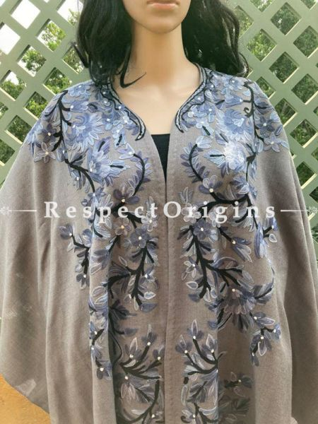 Intricate Ariwork Embroidered Grey Cape Shawl on Semi- Pashmina Wool; Free Size; RespectOrigins.com