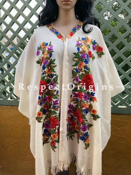 Classic Ariwork Embroidered White Cape Shawl on Semi- Pashmina Wool; Free Size; RespectOrigins.com
