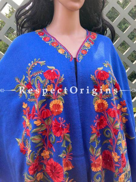 Stunning Ariwork Embroidered Blue Cape Shawl on Semi- Pashmina Wool; Free Size; RespectOrigins.com