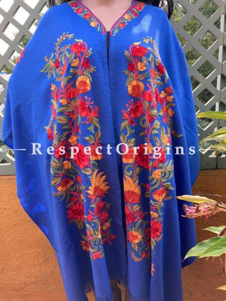 Stunning Ariwork Embroidered Blue Cape Shawl on Semi- Pashmina Wool; Free Size; RespectOrigins.com
