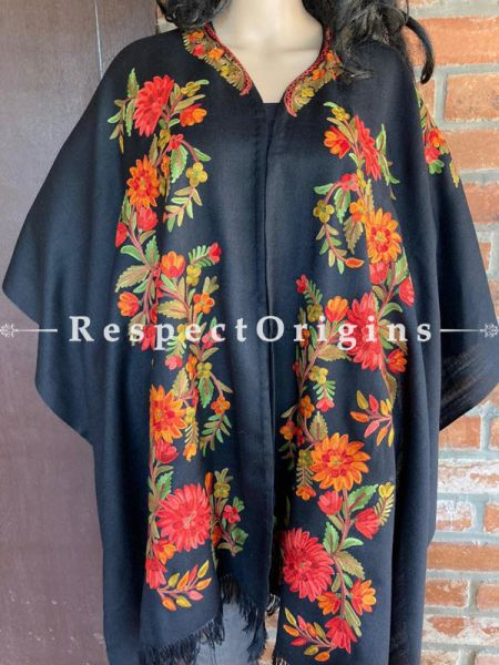 Magnificent Ariwork Embroidered Black Cape Shawl on Semi- Pashmina Wool; Free Size; RespectOrigins.com