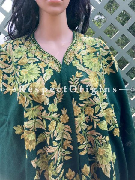 Fabulous Ariwork Embroidered Green Cape Shawl on Semi- Pashmina Wool; Free Size; RespectOrigins.com