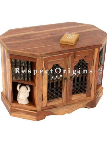Buy Arthur Unique Octagonal Wooden End Table; Iron Latticework At RespectOrigins.com