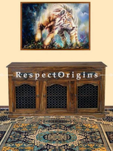 Buy Arthur Dresser or Sideboard Cabinet in Solid Wood and Iron Latticework. At RespectOrigins.com