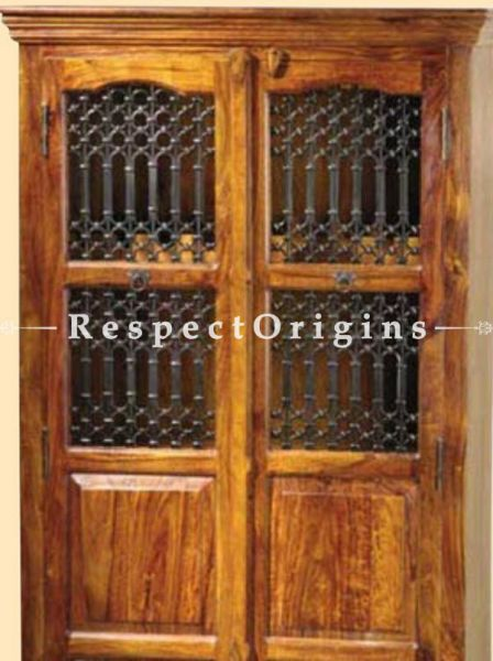 Buy Arthur Tall 2 Door China Cabinet, Book case Handcrafted Wood and Iron Latticework. At RespectOrigins.com