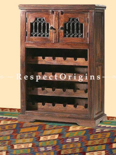 Buy Arthur Vintage Bar with Wine Rack and Bottle Compartment; Solid Wood with Latticework At RespectOrigins.com