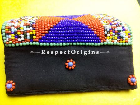 Buy Beaded Ladakhi Clutch; Blue & Red at RespectOrigins.com