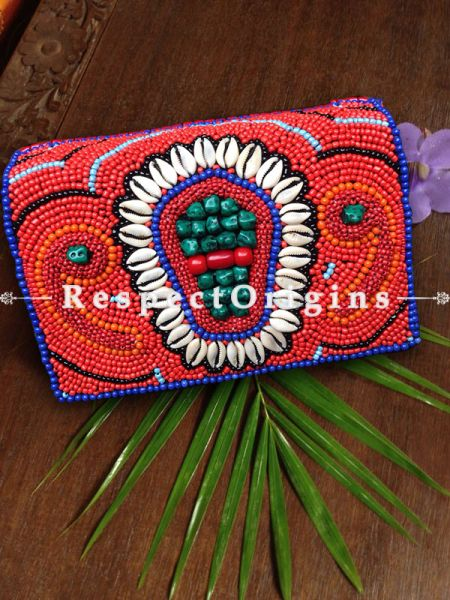 Buy Beaded Ladakhi Clutch; Red & White at RespectOrigins.com