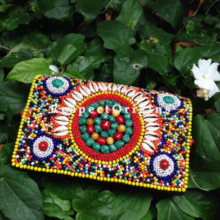 Buy Beaded Ladakhi Clutch; Multicoloured at RespectOrigins.com