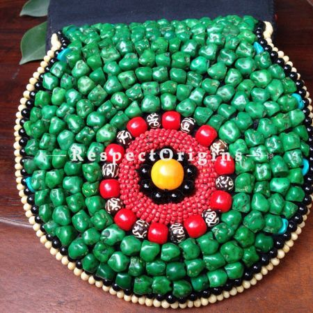 Buy Beaded Ladakhi Clutch; Red and Green at RespectOrigins.com