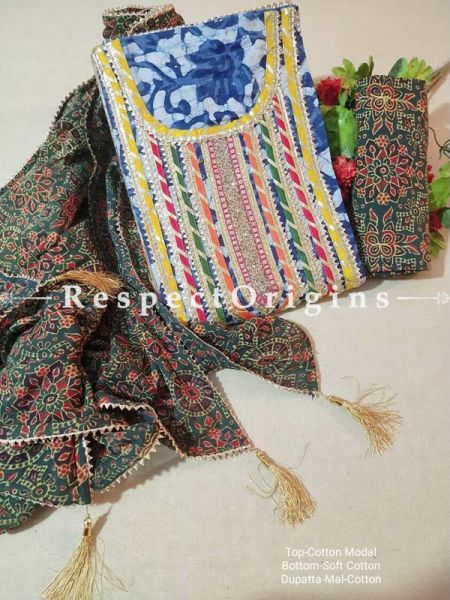 Bagru Unstiched Salwar Suit Fabric; Blue with Yellow Border Top and Green Base Bottom and Dupatta; RespectOrigins.com