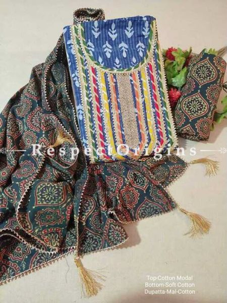 Bagru Unstiched Salwar Suit Fabric; Blue with Green Border Top and Dark Green Bottom and Dupatta; RespectOrigins.com
