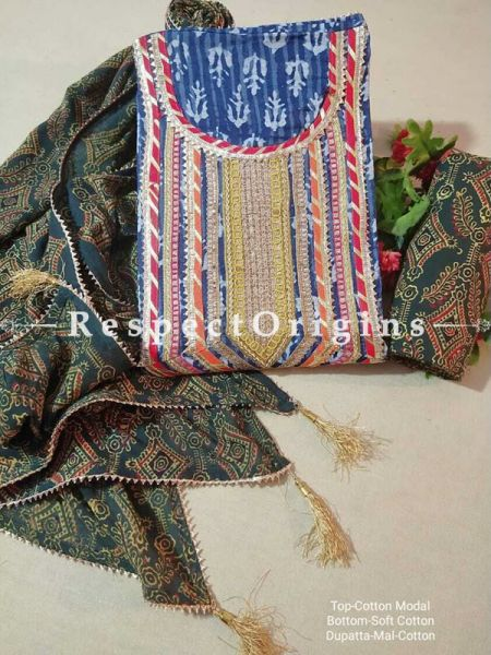 Bagru Unstiched Salwar Suit Fabric; Blue with Red Border Top and Green Base Bottom and Dupatta; RespectOrigins.com
