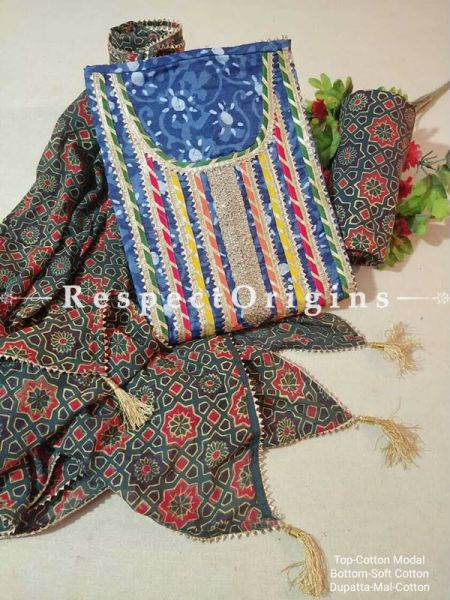 Bagru Unstiched Salwar Suit Fabric; Blue with Green Border Top and Black and Red on Green Base Bottom and Dupatta; RespectOrigins.com