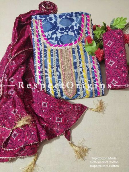Bagru Unstiched Salwar Suit Fabric; Blue with Pink Border Top and Maroon Bottom and Dupatta; RespectOrigins.com