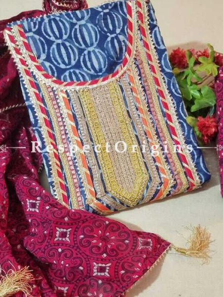 Bagru Unstiched Salwar Suit Fabric; Blue with Red Border Top and Maroon Bottom and Dupatta; RespectOrigins.com