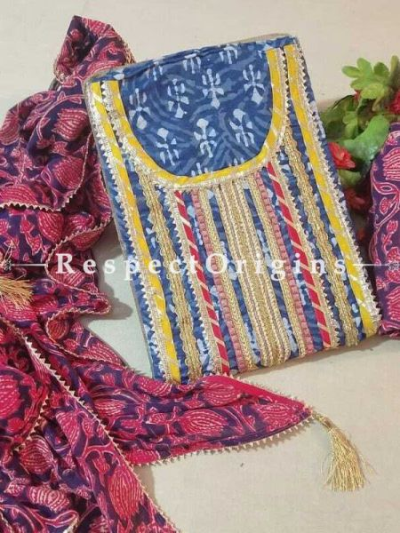 Bagru Unstiched Salwar Suit Fabric; Blue with Yellow Border Top and Maroon Floral Design on Black Base Bottom and Dupatta; RespectOrigins.com