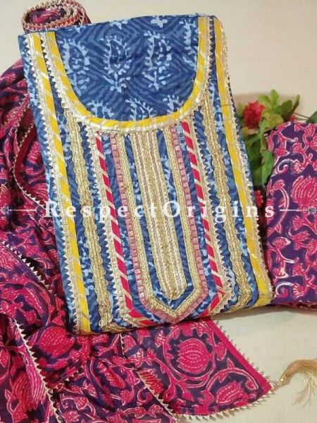 Bagru Unstiched Salwar Suit Fabric; Blue with Yellow Border Top and Maroon Design on Black Base Bottom and Dupatta; RespectOrigins.com