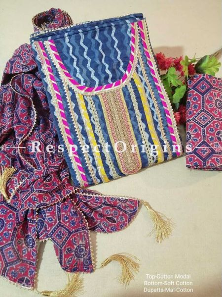 Bagru Unstiched Salwar Suit Fabric; Blue with Pink Border Top and Maroon and Blue Bottom and Dupatta; RespectOrigins.com
