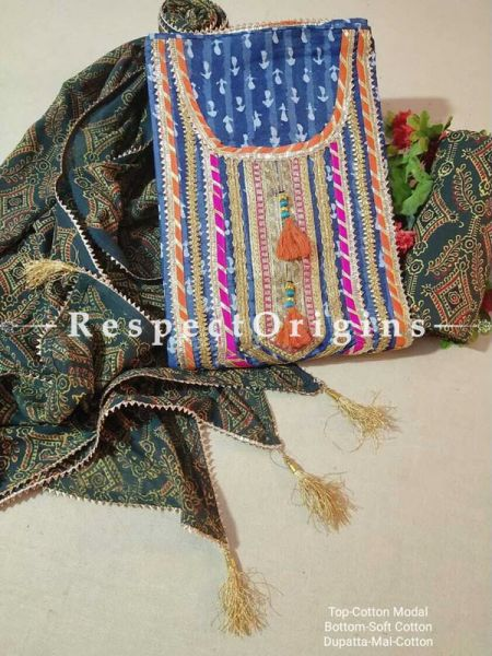 Bagru Unstiched Salwar Suit Fabric; Blue with Orange Border Top and Green Bottom and Dupatta; RespectOrigins.com