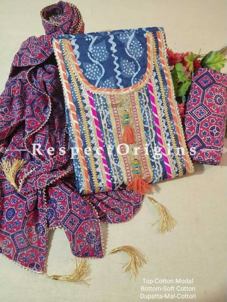 Bagru Unstiched Salwar Suit Fabric; Blue with Orange Border Top and Maroon and Blue Bottom and Dupatta; RespectOrigins.com