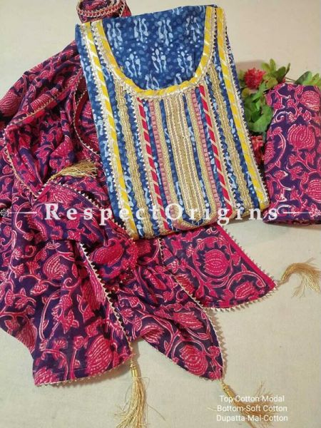 Bagru Unstiched Salwar Suit Fabric; Blue with Yellow Border Top and Maroon Bottom and Dupatta; RespectOrigins.com